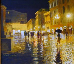 rainy rome street